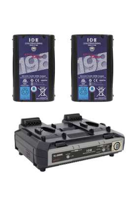 VL-2000S + DUO-C198 IDX Kit Caricabatteria + 2 batterie 195Wh Li-Ion V-Mount/V-Lock