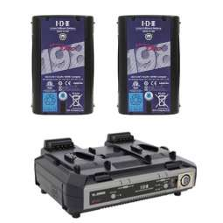 VL-2000S + DUO-C198 IDX Kit Caricabatteria + 2 batterie 195Wh Li-Ion V-Mount/V-Lock