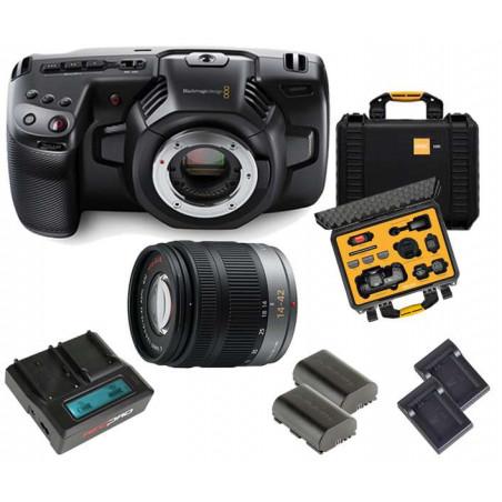 KIT 3 Pocket CC 4K Blackmagic + Lente LUMIX + Kit alimentazione Hedbox + Case HPRC