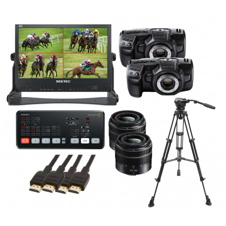 KIT 3 ATEM Mini Blackmagic, ATEM156 Seetec, 2 Pocket 4K, 2 ottiche 14-42mm, EK650 E-Image