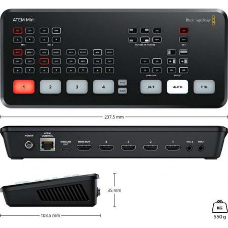 KIT 2 ATEM Mini Blackmagic, ATEM156 Seetec, 2 Pocket 4K, 2 ottiche 14-42mm