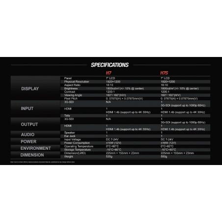 """H7S Lilliput monitor 7"""" 4K Ultra-Bright IN/OUT SDI e HDMI"""