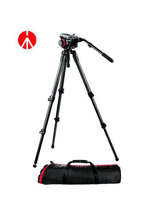 Kit 504HD Manfrotto treppiede fibra carbonio MPRO 535 sacca MBAG100PN