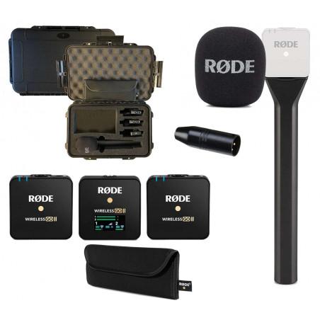 KIT 1 include Rode Wireless GO II, Interview GO, un adattatore VXLR + Valigia per il trasporto