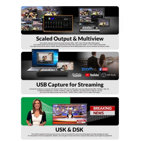 AV MATRIX Streaming Video Switcher Mini 4CH HDMI