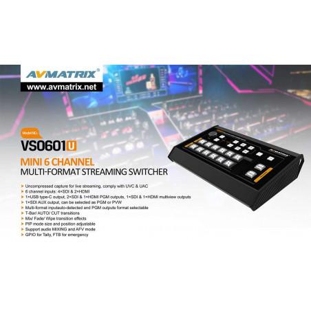 AVMATRIX Streaming Video Switcher Mini 6 CH SDI + HDMI
