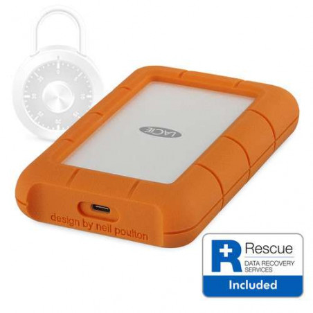SECURE Lacie Hard-disk esterno RUGGED USB 3.1 type C W/RESCU