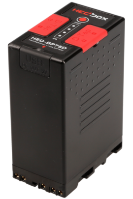 HED-BP75D HEDBOX batteria al litio 14,4V 5200mAh tipo Sony BPU D-TAP, USB out